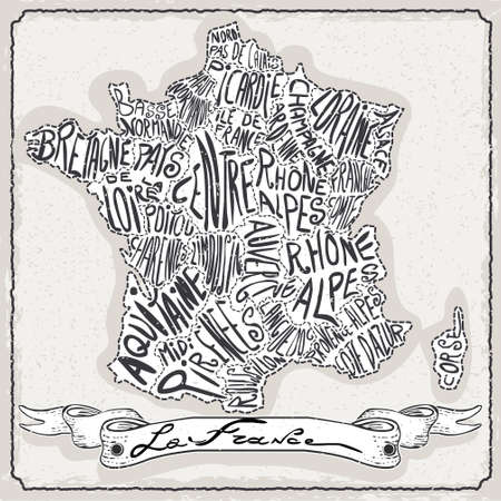 Detailed illustration of a France Map on Vintage Handwriting Page