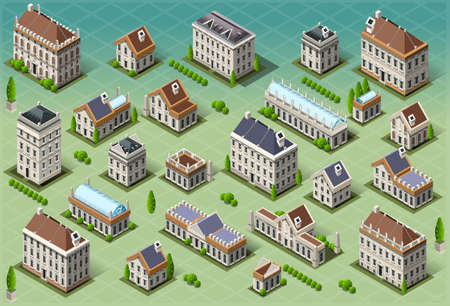 europa: Detailed illustration of a Set of Isometric European Buildings