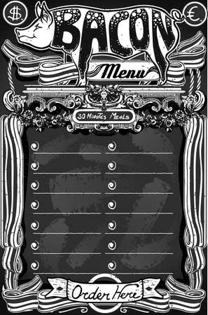 Detailed illustration of a Vintage Bacon Menu on Blackboard for Restaurant Vector