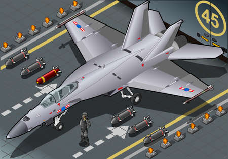 supersonic: Detailed illustration of a Isometric Fighter Bomber Landed in Front View