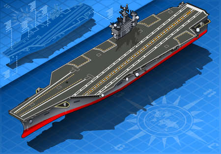 f 18: detailed illustration of a Isometric Aircraft Carrier in Front View