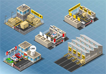 Detailed illustration of a Isometric Set of Storage Buildings