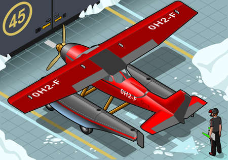 detailed illustration of a Isometric Artic Hydroplane Landed in Rear View Vector
