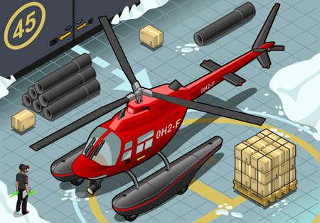 coast guard: Ilustraci�n detallada de un helic�ptero isom�trica �rtico Emergencia ha aterrizado en la vista frontal