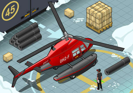coast guard: Detailed illustration of a Isometric Arctic Emergency Helicopter Landed in Rear View Illustration