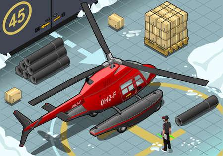 coast guard: Ilustraci�n detallada de un helic�ptero isom�trica �rtico emergencia aterriz� en Vista posterior