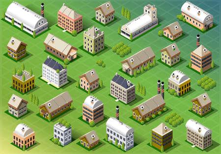 春の等尺性建物の設定の詳細なイラスト