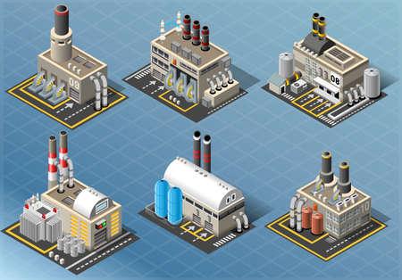 Ilustración detallada de una isométrica Conjunto de Industrias Energéticas de Edificios Vectores
