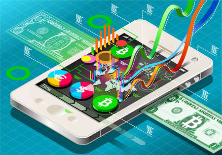 Detailed illustration of a Isometric Virtual Coin Infographic on Mobile Phone Vector