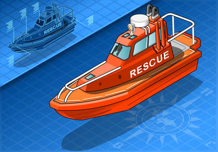 detailed illustration of a Isometric Rescue Boat Isolated in Front View