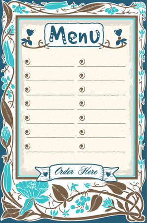 candid: Detailed illustration of a Vintage Candid Menu in Blue