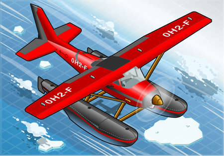 Detailed Illustration of a Isometric Artic Hydroplane in Flight in Front View Vector