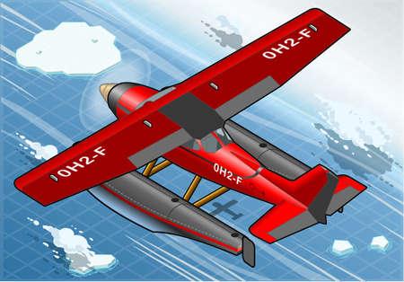 coast guard: Ilustraci�n detallada de un Hidroavi�n isom�trico �rtica en vuelo en Vista posterior