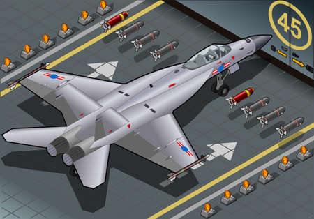 Detailed illustration of a Isometric Fighter Bomber Landed in Rear View Vector