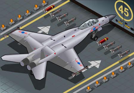 avion de chasse: Illustration détaillée d'un bombardier isométrique Fighter arrivée de vue arrière