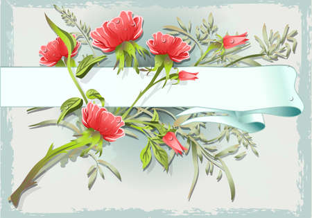 Detailed illustration of a Vintage Flower Ornament with Banner Vector