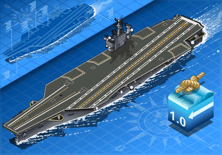 f 18: detailed illustration of a Isometric Aircraft Carrier in Navigation in Front View
