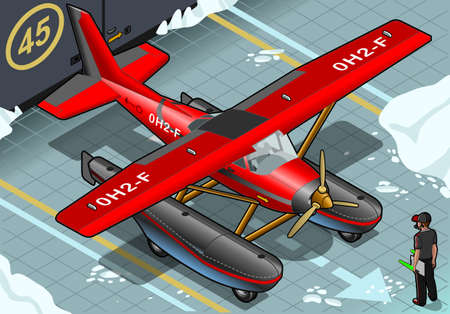 detailed illustration of a Isometric Artic Hydroplane Landed in Front View Vector