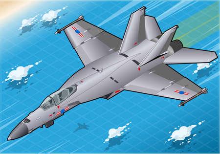 前に飛行中の等尺性の戦闘爆撃機の詳細な図を表示します。