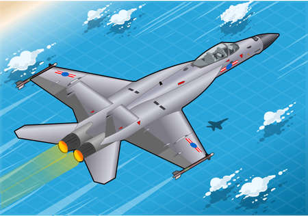 f 18: Detailed illustration of a Isometric Fighter Bomber in Flight in Rear View