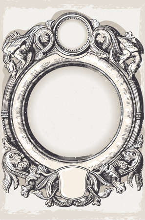 baroque frame: Detailed illustration of a Vintage Floral Frame with Dragons