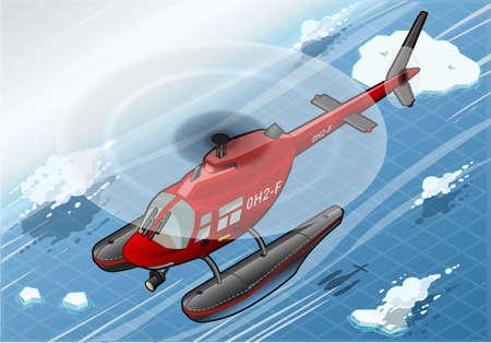 coast guard: Ilustraci�n detallada de un helic�ptero isom�trica �rtico emergencia en vuelo en la vista frontal