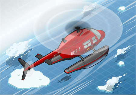 helicopter rescue: Detailed illustration of a Isometric Arctic Emergency Helicopter in Flight in Rear View