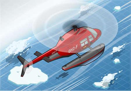 coast guard: Ilustraci�n detallada de un helic�ptero isom�trica �rtico emergencia en vuelo en Vista posterior