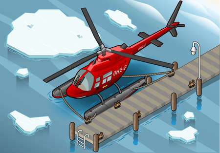 military helicopter: Detailed illustration of a Isometric Arctic Emergency Helicopter at Pier Illustration