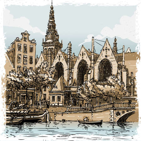 amsterdam canal: Detailed Illustration of a Vintage Hand Drawn View of Old Church in Amsterdam