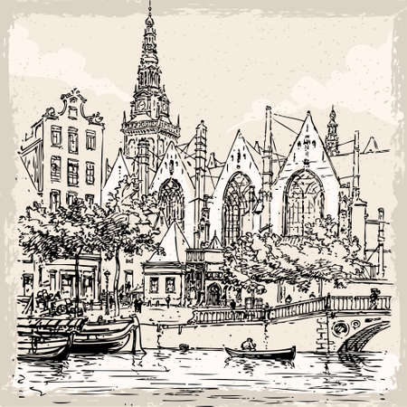 canal street: Detailed Illustration of a Vintage Hand Drawn View of Old Church in Amsterdam