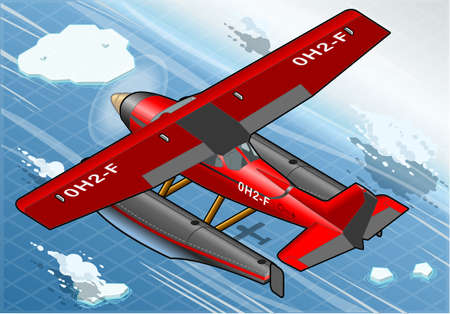 cessna: Detailed Illustration of a Isometric Artic Hydroplane in Flight in Rear View