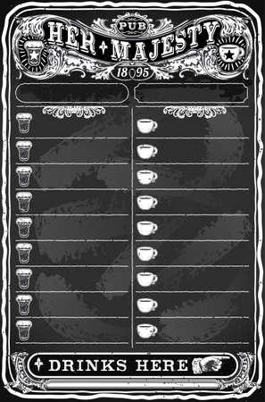 barroco: Ilustración detallada de una Junta Dibujado a mano Vintage para el Menú Pub Vectores