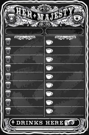 Detailed illustration of a Vintage Hand Drawn Board for Pub Menu