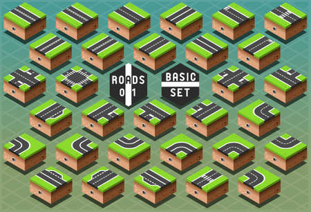 Detailed illustration of a Isometric Roads on Green Terrain Vector