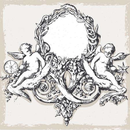 Detailed illustration of a Vintage Floral Frame with Angels Vector