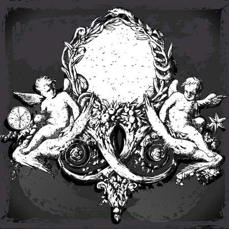 allegory: Detailed illustration of a Vintage Floral Frame with Angels on Blackboard Illustration