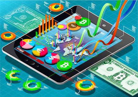 태블릿에 아이소 메트릭 가상 동전 인포 그래픽의 자세한 그림
