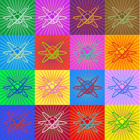 protons: Ilustraci�n detallada de un �tomo con n�cleo y protones y electrones que gira en torno