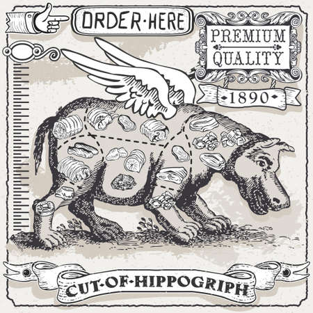Detailed illustration of a Vintage Page of Cut of Hippogriph Vector