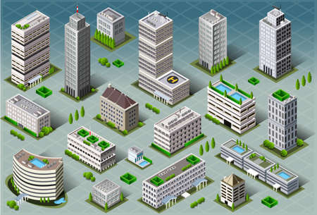 Detailed illustration of a Isometric Buildings Vector