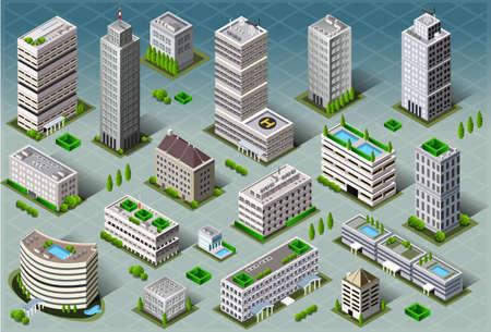 Ilustración detallada de un Edificios isométricos