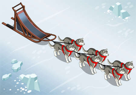 Detailed Illustration of a Isometric sled dogs in Front View on Ice Çizim