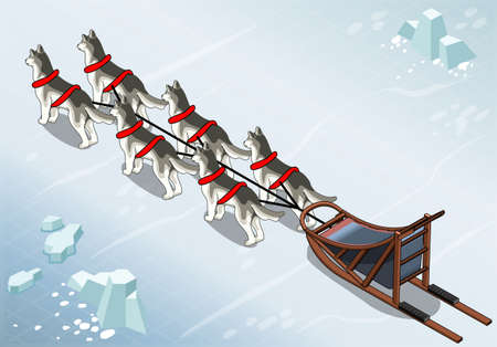 Detailed Illustration of a Isometric sled dogs in Rear View on Ice