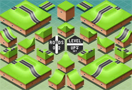 Detailed illustration of a Isometric Roads on Two Levels Terrain