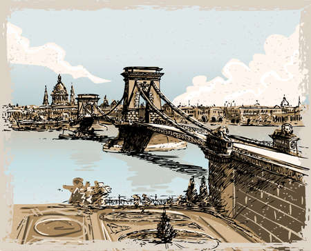 magyar: Detailed Illustration of a Vintage Hand Drawn View of Lions Bridge in Budapest Illustration