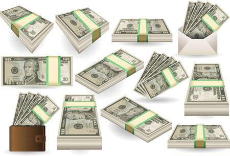다양한 위치에서 10 달러 지폐의 일련의 자세한 그림 일러스트