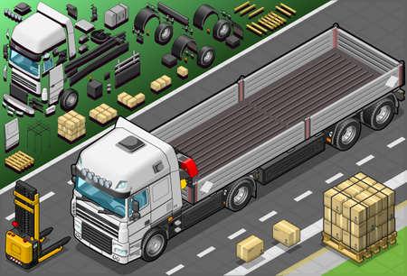 convoy: Illustrazione dettagliata di un pick up camion isometrico in vista frontale