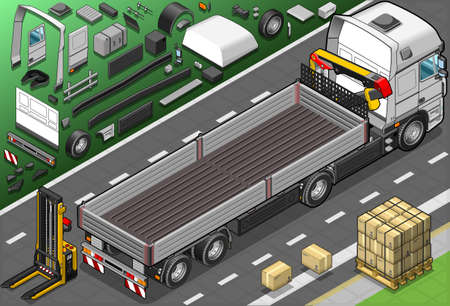 convoy: Detailed Illustration of a Isometric Pick Up Truck in Rear View