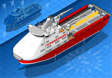 water carrier: detailed illustration of a Isometric Icebreaker Ship Isolated in Front View